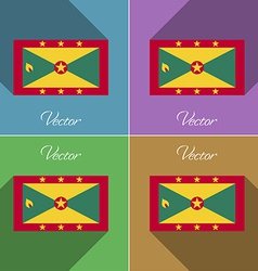 Flags grenada set of colors flat design and long vector