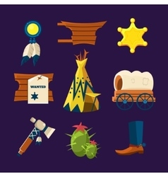 Wild west cowboy flat icons vector