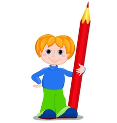 Boy and redpencil vector