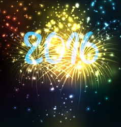 Happy new year 2016 with firework vector