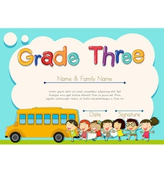 Grade four diploma with schoolbus and kids vector image