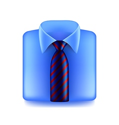 Blue shirt with striped tie isolated on white vector image