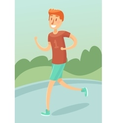 Young man running outdoors character flat vector