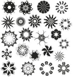 Flowers black set vector