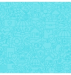 Thin blue insurance line seamless pattern vector