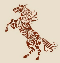 Horse floral ornament vector