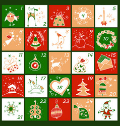 advent calendar christmas childish poster vector image