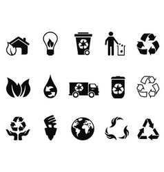 black recycling icons set vector image vector image