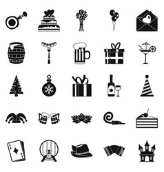 cake for the holiday icons set simple style vector image