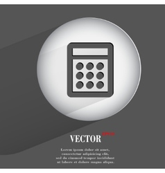 Calculator flat modern web button with long shadow vector