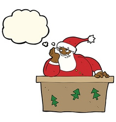 Cartoon bored santa claus with thought bubble vector