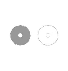 Circular saw blade grey set icon vector