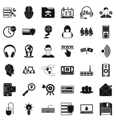 Cyber security icons set simple style vector