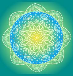 decorative sea round mandala vector image vector image