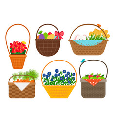 easter baskets collection vector image