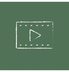 Film frame icon drawn in chalk vector