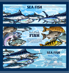 Fresh fish seafood restaurant sketch banner set vector