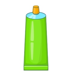 Green paint tube icon cartoon style vector image