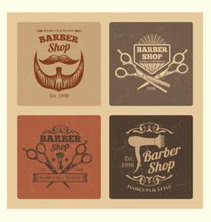 grunge vintage barber shop labels design vector image