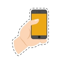 Hand holding smartphone device online shopping cut vector
