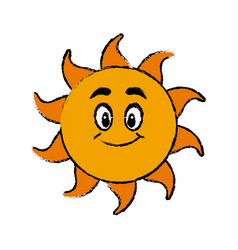 Happy sun cartoon mascot character vector