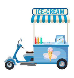 Ice cream moped mobile snack icon cartoon style vector