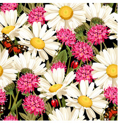 Meadow flowers seamless pattern vector