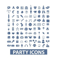 party birthday celebration icons set vector image vector image