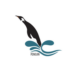 penguin jumping out of water vector image vector image