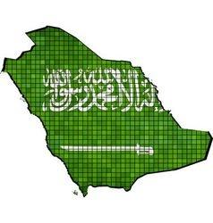 Saudi arabia map with flag inside vector