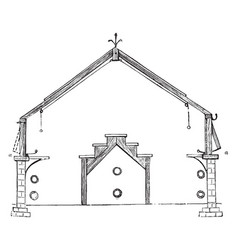 Section of span roof plant house vintage vector