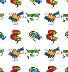 Set of comic text pop art style seamless pattern vector