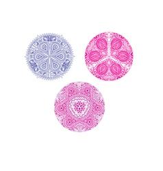 Set of cute circle ornament laces in pink mandala vector