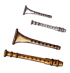 Sketch icon flute pipe musical instrument vector