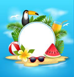 Summer poster with toucan bird watermelon sea vector