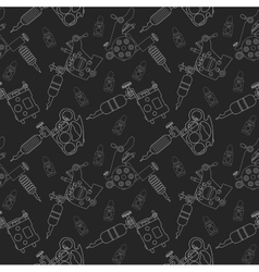 Tattoo machines and ink pattern black vector