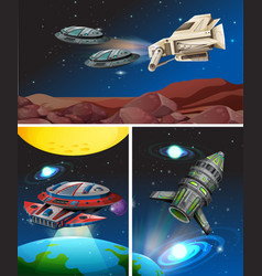 Three scenes with spaceships in space vector