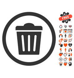 Trash can icon with lovely bonus vector