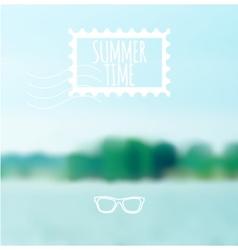 Unfocused summer lake background vector image