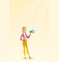 Young woman speaking into a megaphone vector