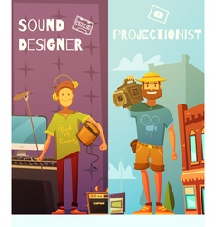 Projectionist and sound designer cartoon banners vector