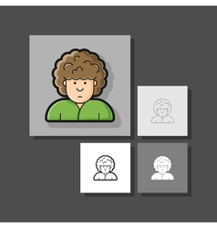 Contour icon man with curly hairstyle on her head vector