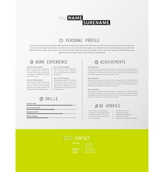 Creative simple cv template with green stripe in vector