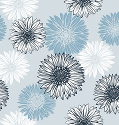 Graphics blue and white flowers vector