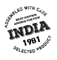 Assembled in india rubber stamp vector
