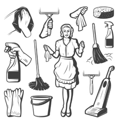 Vintage Cleaning Service Elements Collection vector image