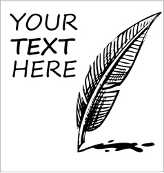 Writing quill with ink blot and sample text vector