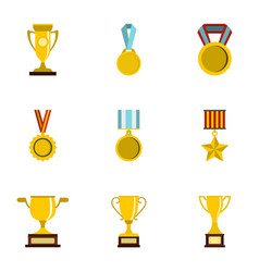 Sport awards icons set flat style vector