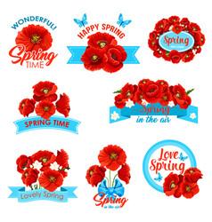 Happy spring springtime holidays floral icon set vector