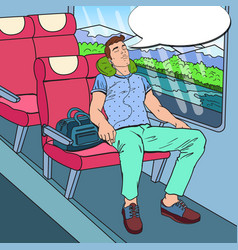 Pop art tired young man sleeping in the train vector